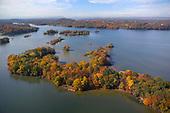 Autumn colors over islands on Chickamauga Lake