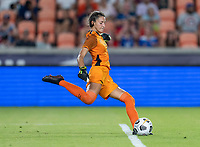HOUSTON, TX - JUNE 13: Sydney Schneider #1 of Jamaica kicks a goal kick during a game between Jamaica and USWNT at BBVA Stadium on June 13, 2021 in Houston, Texas.