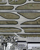 aerial photograph airport infrastructure adjacent to runways and taxiways at the Hartsfield Jackson Atlanta International airport, (ATL) Georgia