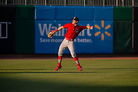 Springfield Cardinals outfielder Conner Capel (12) warms up in left field on May 16, 2019, at Arvest Ballpark in Springdale, Arkansas. (Jason Ivester/Four Seam Images)