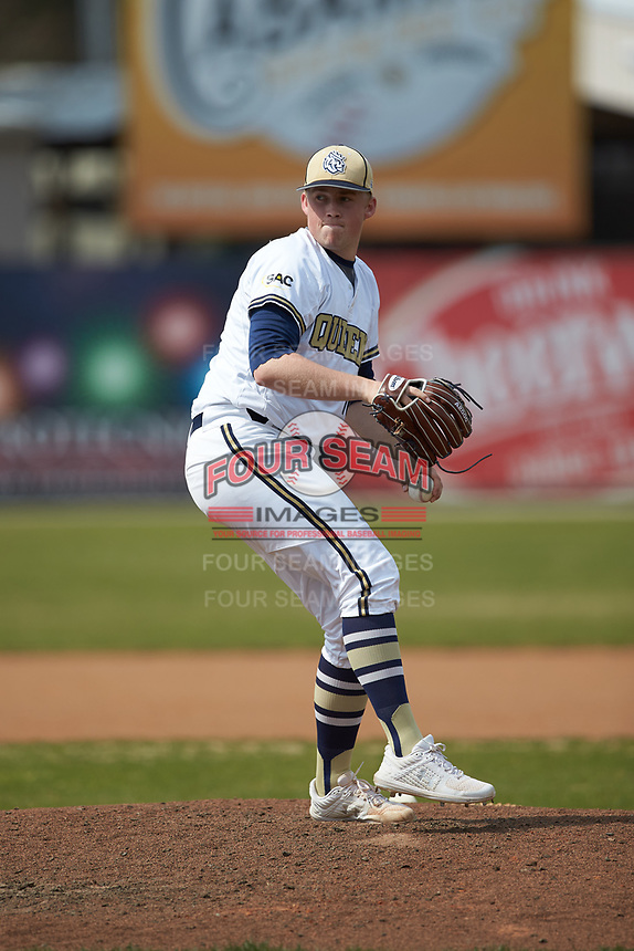 Queens Royals relief pitcher Landen Wright (16) in action against the Mars Hill Lions at Intimidators Stadium on March 30, 2019 in Kannapolis, North Carolina. The Royals defeated the Bulldogs 11-6 in game one of a double-header. (Brian Westerholt/Four Seam Images)