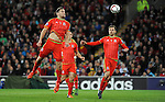 UEFA EURO 2016 Qualifier match between Wales and Andorra at Cardiff City Stadium in Cardiff : <br /> Sam Vokes of  Wales has a go at the Andorra goal in the second half.