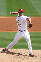St Louis Cardinals pitcher Adam Wainwright #50 delivers a pitch during a spring training game against the Detroit Tigers at Roger Dean Stadium on March 28, 2012 in Jupiter, Florida.  Cardinals defeated the Tigers 9-5.  (Mike Janes/Four Seam Images)