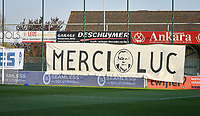 illustration picture showing a banner with Merci Luc on it to honour Luc Gardelein who passed away last week during a female soccer game between  AA Gent Ladies and Club Brugge YLA on the third matchday of play off 1 in the 2020 - 2021 season of Belgian Scooore Womens Super League , friday 23 th of April 2020  in Oostakker , Belgium . PHOTO SPORTPIX.BE | SPP | STIJN AUDOOREN