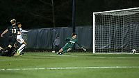WINSTON-SALEM, NC - DECEMBER 07: Alistair Johnston #8 of Wake Forest University scores a goal past Ben Roach #1 of the University of California Santa Barbara during a game between UC Santa Barbara and Wake Forest at W. Dennie Spry Stadium on December 07, 2019 in Winston-Salem, North Carolina.
