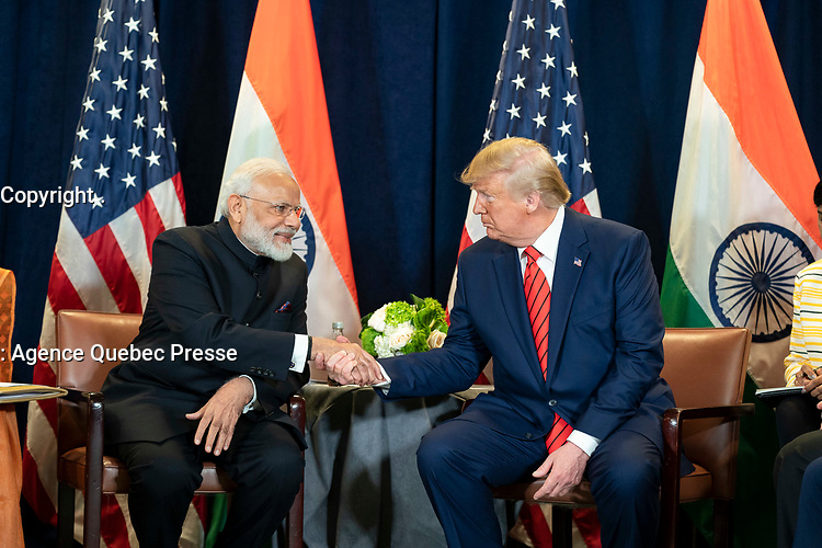 President Donald J. Trump and India's Prime Minister Narendra Modi, joined by members of their delegations, participate in a bilateral meeting Tuesday, September 24, 2019, at the United Nations Headquarters in New York City. (Official White House Photo by Shealah Craighead)