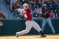 Oklahoma Sooners designated hitter Matt Oberste #14 follows through on his swing against the Texas Longhorns in the NCAA baseball game on April 6, 2013 at UFCU DischFalk Field in Austin, Texas. The Longhorns defeated the rival Sooners 1-0. (Andrew Woolley/Four Seam Images).