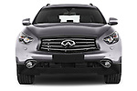 Car photography straight front view of a 2015 Infiniti QX70 S 5 Door Suv Front View