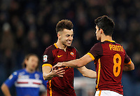Calcio, Serie A: Roma vs Sampdoria. Roma, stadio Olimpico, 7 febbraio 2016.<br /> Roma's Diego Perotti, right, celebrates with teammate Stephan El Shaarawy after scoring during the Italian Serie A football match between Roma and Sampdoria at Rome's Olympic stadium, 7 January 2016.<br /> UPDATE IMAGES PRESS/Riccardo De Luca