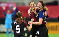 Minneapolis, MN - October 23, 2016: The U.S. Women's National team and Switzerland are all even 1-1 with Carli Lloyd knotting it up in first half action during an international friendly game at U.S. Bank Stadium.