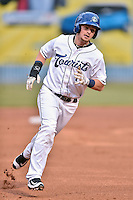 Asheville Tourists second baseman Brendan Rodgers (1) runs to third during a game against the Lakewood BlueClaws at McCormick Field on May 4, 2016 in Asheville, North Carolina. The Tourists defeated the BlueClaws 2-0. (Tony Farlow/Four Seam Images)