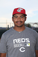 Antonio Santillana (80) of the AZL Reds poses for a photo before a game against the AZL Brewers at the Cincinnati Reds Spring Training Complex on July 5, 2015 in Goodyear, Arizona. Reds defeated Brewers, 9-4. (Larry Goren/Four Seam Images)