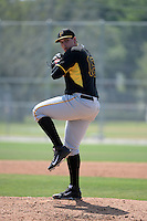 Pittsburgh Pirates pitcher Cory Rhodes (16) during a minor league spring training game against the Toronto Blue Jays on March 21, 2015 at Pirate City in Bradenton, Florida.  (Mike Janes/Four Seam Images)