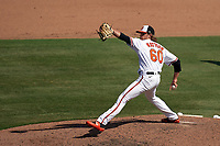 Baltimore Orioles pitcher Isaac Mattson (60) during a Major League Spring Training game against the Philadelphia Phillies on March 12, 2021 at the Ed Smith Stadium in Sarasota, Florida.  (Mike Janes/Four Seam Images)