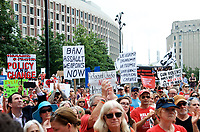 Moms Demand Action for Gun Sense in America hold a recess rally to urge Congress to vote on Senate Bill 42 to implement background checks and red flag laws, and call for an assault weapons ban at Boston City Hall Plaza Boston MA 8.18.19