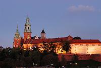 Poland, Krakow, Wawel, Royal Castle, at night