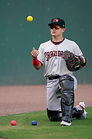 Catcher David Garcia (13) of the Hickory Crawdads before a game against the Greenville Drive on Friday, June 18, 2021, at Fluor Field at the West End in Greenville, South Carolina. (Tom Priddy/Four Seam Images)