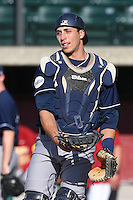 Alex Guenett # 5 of the UC Irvine Anteaters before a game against the Southern California Trojans at Dedeaux Field on April 29, 2014 in Los Angeles, California. Stanford defeated Southern California, 6-2. (Larry Goren/Four Seam Images)