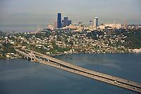 Aerial view of I-90 floating bridges spanning Lake Washington from Mercer Island to Seattle
