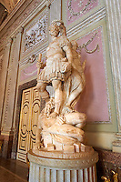 """The Room of the Bodyguards"" - The statue of Alessandro Farnese dressed as a Roman commander being crowned for the victory over the people of Flanders and returning them to Roman Catholisism. The statue is by Simone Moschino.The Kings of Naples Royal Palace of Caserta, Italy. A UNESCO World Heritage Site"
