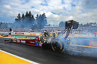 Aug. 7, 2011; Kent, WA, USA; NHRA top fuel dragster driver Scott Palmer during the Northwest Nationals at Pacific Raceways. Mandatory Credit: Mark J. Rebilas-
