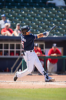 Northwest Arkansas Naturals infielder Angelo Castellano (16) connects on a pitch on May 19, 2019, at Arvest Ballpark in Springdale, Arkansas. (Jason Ivester/Four Seam Images)