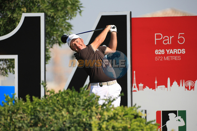 Damien McGrane teeing off ont he 14th during the third round of the Dubai World Championship on the Earth Course at the Jumeirah Golf Estate, Dubai..Picture Fran Caffrey/www.golffile.ie.