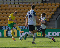 \Norwich City's Przemyslaw Placheta (left) crosses the ball despite the attentions of Preston North End's Darnell Fisher (right) <br /> <br /> Photographer David Horton/CameraSport<br /> <br /> The EFL Sky Bet Championship - Norwich City v Preston North End - Saturday 19th September 2020 - Carrow Road - Norwich<br /> <br /> World Copyright © 2020 CameraSport. All rights reserved. 43 Linden Ave. Countesthorpe. Leicester. England. LE8 5PG - Tel: +44 (0) 116 277 4147 - admin@camerasport.com - www.camerasport.com