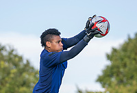 KASHIMA, JAPAN - AUGUST 1: Adrianna Franch #18 of the USWNT makes a save during a training session at the practice field on August 1, 2021 in Kashima, Japan.