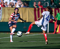 Sydney Leroux, Gabriela Guillen.  The USWNT defeated Costa Rica, 8-0, during a friendly match at Sahlen's Stadium in Rochester, NY.