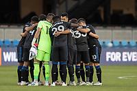 SAN JOSE, CA - SEPTEMBER 16: San Jose Earthquakes team huddle during a game between Portland Timbers and San Jose Earthquakes at Earthquakes Stadium on September 16, 2020 in San Jose, California.