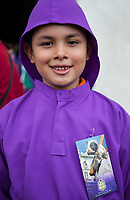 Antigua, Guatemala.  Young Boy Dressed as Novice Cucurucho, Semana Santa.