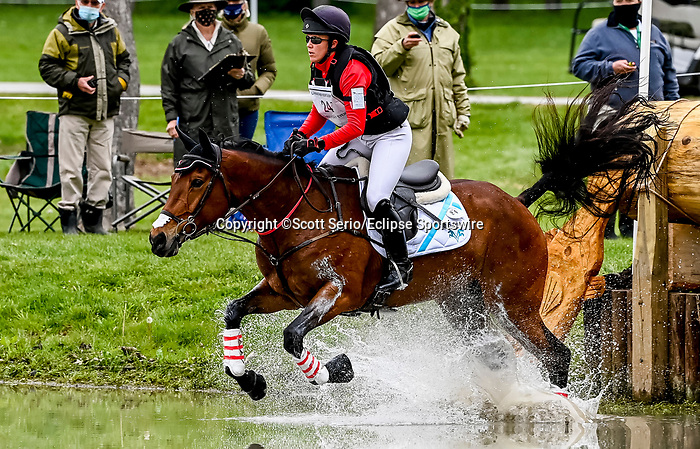 April 24, 2021: Fylicia Barr competes in the Cross Country phase of the Land Rover 5* 3-Day Event aboard Galloway Sunrise at the Kentucky Horse Park in Lexington, Kentucky. Scott Serio/Eclipse Sportswire/CSM