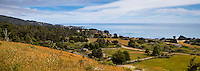 The Sea Ranch, California coastal development seen form hills looking toward Pacific Ocean