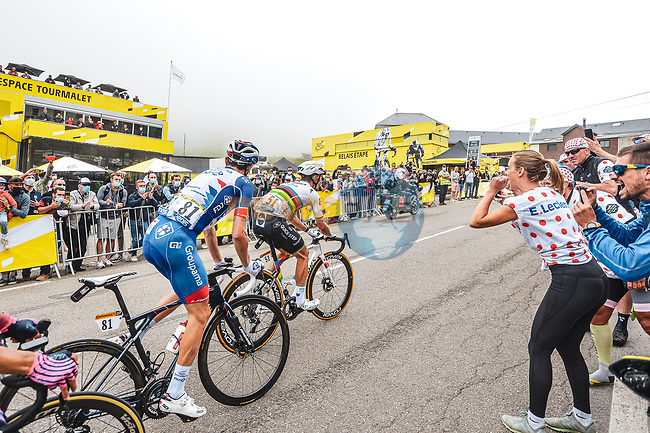 David Gaudu (FRA) Groupama-FDJ and World Champion Julian Alaphilippe (FRA) Deceuninck-Quick-Step climb Col du Tourmalet during Stage 18 of the 2021 Tour de France, running 129.7km from Pau to Luz Ardiden, France. 15th July 2021.  <br /> Picture: A.S.O./Charly Lopez | Cyclefile<br /> <br /> All photos usage must carry mandatory copyright credit (© Cyclefile | A.S.O./Charly Lopez)