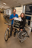 Keeping Derby Moving is the slogan of Connected, who were promoting their sustainable travel programme at Derby Train Station. Pictured are Pete Shaw of LifeCycle UK and Lisa Hopkinson of Connected