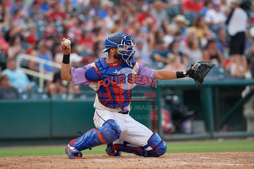Frisco RoughRiders catcher Isiah Kiner-Falefa (9) during a Texas League game against the Amarillo Sod Poodles on July 13, 2019 at Dr Pepper Ballpark in Frisco, Texas.  (Mike Augustin/Four Seam Images)