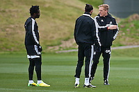 Thursday 20 March 2014<br /> Pictured: Garry Monk, Manager of Swansea City talks to Chico Flores and Wilfried Bony of Swansea City <br /> Re: Swansea City Training at their Fairwood training facility, Swansea, Wales,UK