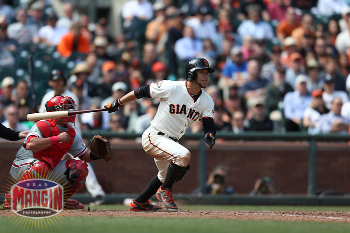 SAN FRANCISCO, CA - MAY 8:  Gregor Blanco #7 of the San Francisco Giants bats against the Philadelphia Phillies during the game at AT&T Park on Wednesday, May 8, 2013 in San Francisco, California. Photo by Brad Mangin