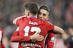 Atletico de Madrid's Saul Niguez (l) and Yannick Ferreira Carrasco celebrate goal during La Liga match. December 13,2015. (ALTERPHOTOS/Acero)