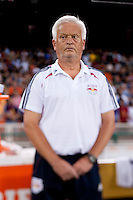 New York Red Bulls head coach Hans Backe watches his team before the game at RFK Stadium in Washington, DC.  D.C. United tied the New York Red Bulls, 2-2.