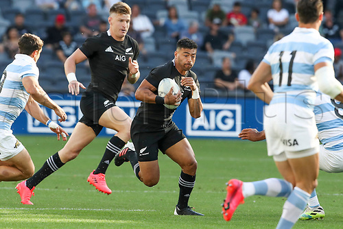 14th November 2020, Sydney, Australia;  Richie Mo'unga in possession. Tri Nations rugby union test match,  New Zealand All Blacks versus Argentina Pumas. Bankwest Stadium, Sydney, Australia.
