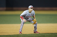 North Carolina State Wolfpack third baseman Vojtech Mensik (6) on defense against the Wake Forest Demon Deacons at David F. Couch Ballpark on April 18, 2019 in  Winston-Salem, North Carolina. The Demon Deacons defeated the Wolfpack 7-3. (Brian Westerholt/Four Seam Images)