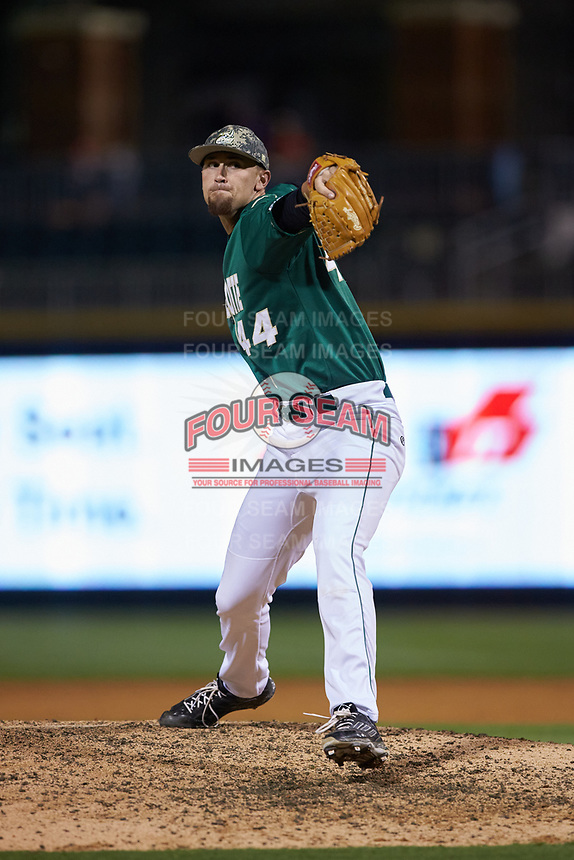Charlotte 49ers relief pitcher Brandon Casas (44) in action against the North Carolina State Wolfpack at BB&T Ballpark on March 29, 2016 in Charlotte, North Carolina. The Wolfpack defeated the 49ers 7-1.  (Brian Westerholt/Four Seam Images)
