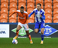Blackpool's CJ Hamilton battles with Wigan Athletic's Dan Gardner<br /> <br /> Photographer Dave Howarth/CameraSport<br /> <br /> The EFL Sky Bet League One - Blackpool v Wigan Athletic - Tuesday 3rd November 2020 - Bloomfield Road - Blackpool<br /> <br /> World Copyright © 2020 CameraSport. All rights reserved. 43 Linden Ave. Countesthorpe. Leicester. England. LE8 5PG - Tel: +44 (0) 116 277 4147 - admin@camerasport.com - www.camerasport.com