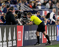 Foxborough, MA - May 25, 2019: In a Major League Soccer (MLS) match, New England Revolution (blue/white) tied D.C. United (white), 1-1, at Gillette Stadium on May 25, 2019 in Foxborough, MA. (Photo by Andrew Katsampes/ISI Photos).<br /> Video review.