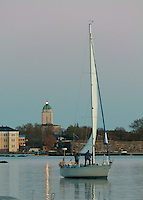 Suomenlinna Church Lighthouse provides a guiding light and comfort for returning sailors in the Baltic Sea at Helsinki harbour, Finland