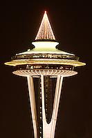 Nighttime scene of top half of Seattle Space Needle, Seattle Center, Seattle, Washington, USA
