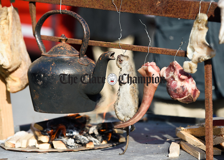 Gerry Davoren's  Famine special meals including a rat  during the St Patrick's Day parade held on Saturday in Lisdoonvarna. Photograph by John Kelly.