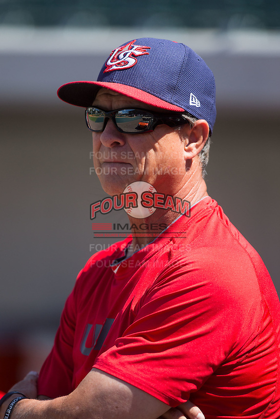 USCNT head coach Ed Blankmeyer (1) watches the Cuban National Team take batting practice at BB&T BallPark on July 4, 2015 in Charlotte, North Carolina.  The United State Collegiate National Team defeated the Cuban National Team 11-1.  (Brian Westerholt/Four Seam Images)